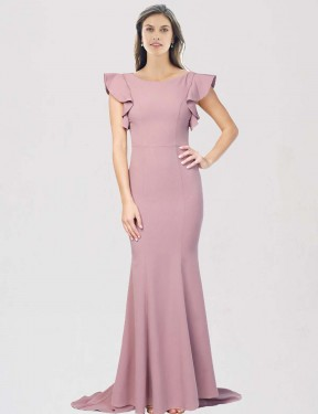 Affordable Mermaid Round Neck Dusty Pink Stretch Crepe Long Eden Bridesmaid Dress Australia