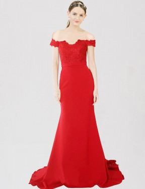 Affordable Mermaid Sweetheart Off the Shoulder Red Stretch Crepe & Lace Long Dawn Bridesmaid Dress Australia