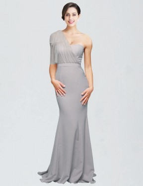 Affordable Mermaid Sweetheart One Shoulder Oyster Silver Stretch Crepe Long Dominic Bridesmaid Dress Australia