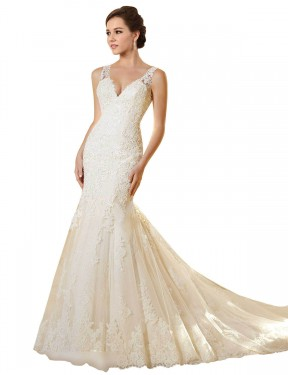 Affordable Mermaid V-Neck Ivory & Champagne Lace & Tulle Long Emerson Wedding Dress Australia