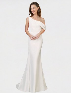 Affordable Sheath One Shoulder Ivory Stretch Crepe Long Cantrell Bridesmaid Dress Australia